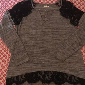 Maurices high low long sleeve lace cold shoulder